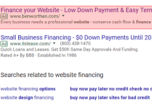 PPC advertisement for website financing