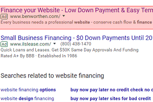 PPC advertisement for website financing